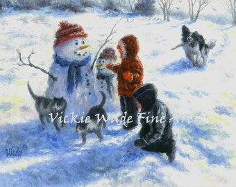 Snowman and Kids Art Print winter snow painting, snowman paintings, boy and girl, snowmen images, cats dog, border collie Vickie Wade Art