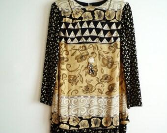 Vintage Carole Little Drop Waist Dress Attached Necklace Rayon Black Tan 4 Petite, SALE