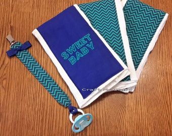 Sweet Baby Chevron - 3 pc. Burp Cloth and Pacifier Clip - Royal Blue / Teal - Ready to Ship