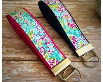 Key Fob, Wristlet, Keychain - Pink Aqua Floral [KF070/KF071]