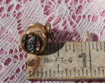 Vintage Gold Toned with Red and Blue Mid Century Tie Tack, Tie Pin