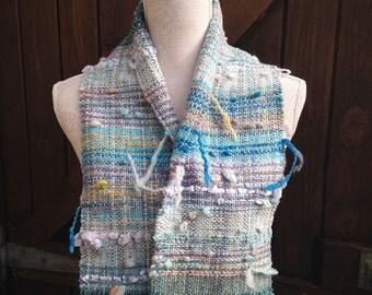 Seascape - Hand Woven Scarf in Handspun Yarn and Art Yarn, Cornwall, UK