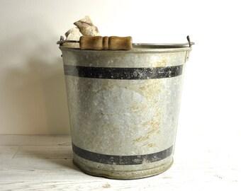 Vintage Galvanized Bucket, Vintage Industrial Mop Bucket, Metal Pail, Rustic Wedding Farm Bucket, Industrial Planter