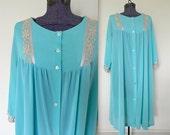 Vintage 1960s Bright Blue & Coffee Peignoir Nighty Nightgown - RARE Large size - 3X 4X