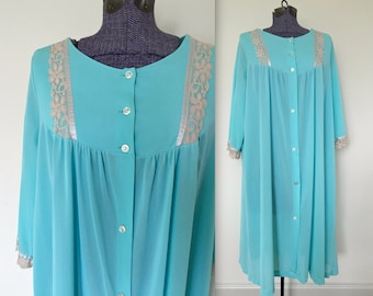 Vintage 1960s Bright Blue & Coffee Peignoir Nighty Nightgown - RARE Large size - 3X 4X