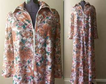 Vintage 1960s Muted Autumn Floral Maxi Nightgown Lounge Dress - Small