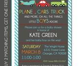 Baby Boy Shower Invitation - Transportation Invitation - Transportation Birthday Invitation - Transportation Baby Shower - Digital File