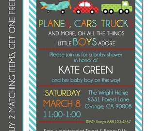 Baby Boy Shower Invitation - Transportation Invitation - Transportation Birthday Invitation - Transportation Baby Shower - Digital File