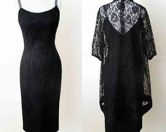 Stunning 1950's Lilli Diamond Designer cocktail party dress with matching lace coat pinup girl rockabilly Hollywood chic size Small