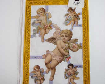 VICTORIAN DECOUPAGE SCRAP Art Cherub Angel 2 Sheets Made in England Artifacts Embossed Paper Cut Out Cutout Relief Mamelok Collage Scrapbook