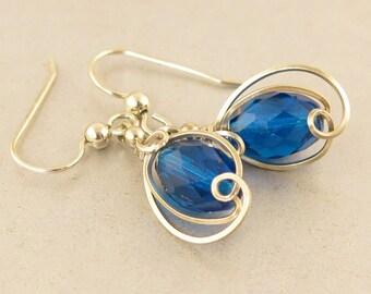 Sapphire Blue Sterling Silver Small Drop Earrings, Unique Wire Wrapped Sapphire Blue Dangle Earrings