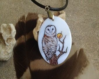 Barn Owl Totem Animal Mother of Pearl Amulet by Mickie Mueller