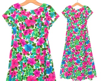 70s Maxi Dress * Vintage Floral Dress * 1970s Tropical Flower Print Dress * Small - Medium
