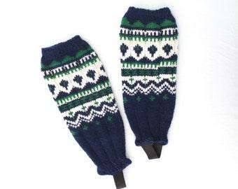 Vintage Legwarmers * 60s Wool Leg Warmers * Fair Isle Legwarmers * Spats