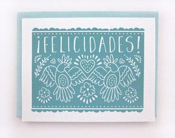 Felicidades - Picado Spanish Wedding Card