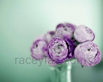 Flower Photography, Purple, Sage Green, Ranunculus, Pastel Decor, Flower Photo, Neutral, Girl Nursery Decor