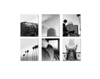 Los Angeles Print Set Tropical Black And White Hollywood Photos - 6 Photo Set - LA Photography