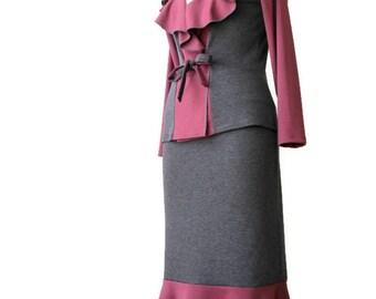 Jersey jacket, Wrap cardigan, Long sleeve jacket, Custom jacket,  Womens plus size clothing, Plus size wrap top, Ruffle jacket Tasi Fashion