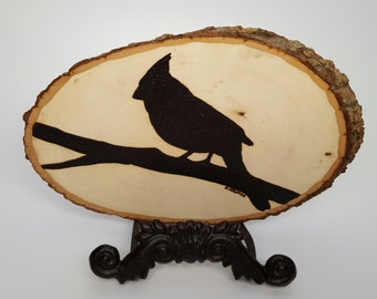 Woodburning Wood Burning Cardinal Bird Silhouette Plaque
