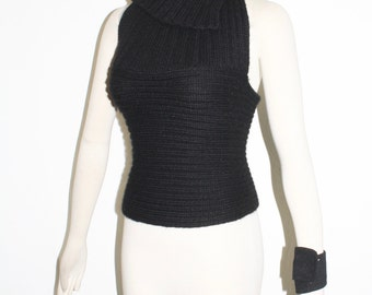 DOLCE & GABBANA Vintage Wool Knit Cowl Neck Halter Top - AUTHENTIC -