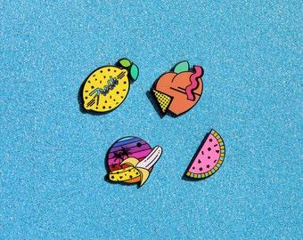 Ready To Ship Fresh & Fruity Enamel Pin Collection - Watermelon Peach Banana Lemon 80s 90s Confetti Memphis Style