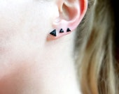 Black Tourmaline Stud Earrings, Small Triangle Stud Earrings