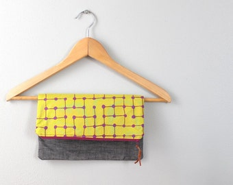 Fold over Clutch, Evening Bag, Zipper Purse, Everyday Clutch, Women's Purse, Zipper Pouch with Gray Linen, Lime and Purple Fabric
