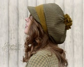 Winter Slouchy Hat / Olive Green Corduroy Slouch Visor Beanie Newsboy Cap