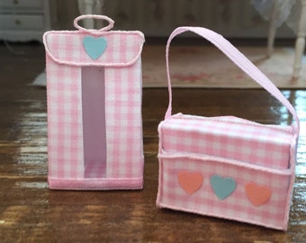 Miniature Baby Diaper Stacker and Diaper Bag, White and Pink Set, Dollhouse Miniatures, 1:12 Scale, Dollhouse Nursery Decor, Accessory