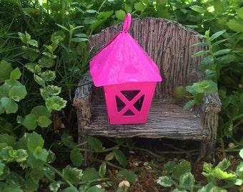 Miniature Bright Pink Metal Lantern, Fairy Garden Accessory, Miniature Gardening, Home and Garden Decor, Topper, Crafting