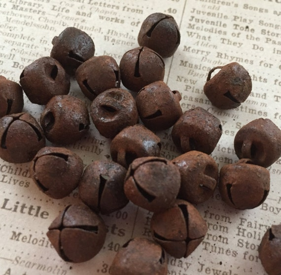 Rusty Bells, 9mm, Packaged Bells, 25 pcs, Great for Prims Decorating Ornaments Gift Wrapping Doll Making and More