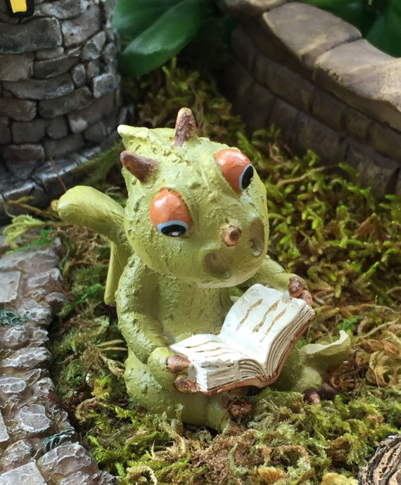 Mini Dragon Reading Figurine, Dragon 4366, Fairy Garden Accessory, Garden Decor, Enchanted Story, Topper, Shelf Sitter