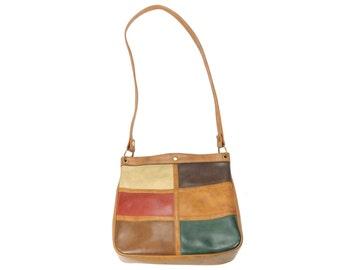 Vintage 70s Vinyl Purse Shoulder Bag Patchwork Handbag 1970s Hippie Boho Brown