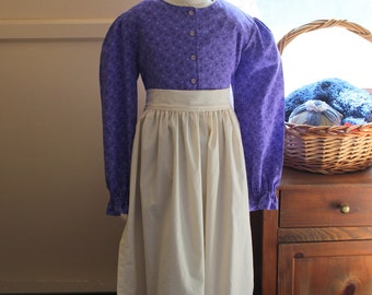 Purple Simple Pioneer Dress with Half Apron and Bonnet Size 8/10 Ready to Ship