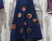 Girls Pinafore Cross Back Apron Dress 4T to 6 years Children's Upcycled Clothing