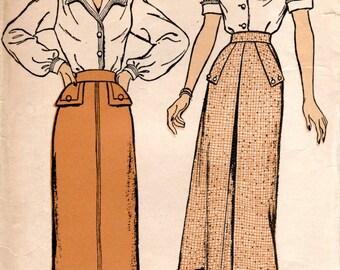 1940s Slim Skirt with Kick Pleat & Pockets - Vintage Pattern New York 372 - Waist 26
