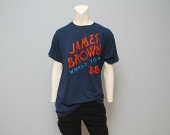 Vintage Rare Navy Blue James Brown 1986 World Tour T-Shirt - Screen Stars Size XL