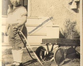 Darling Little Boy Pulls a Wagon Vintage Photo  K17203 Antique Wagon and Child