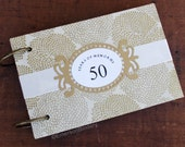 50th Wedding Anniversary Book with Removable Pages, Blossoms in Gold on Ivory, Size A5, Reserved for Karen