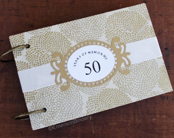 50th Wedding Anniversary Book, Well Wishes Cards, Book with Removable Pages, Blossoms in Gold on Ivory