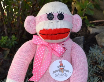 Sock Monkey Doll in Pink with Option of Child Friendly Eyes