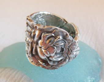 Antique Spoon Ring  Sterling Silver  Size 6.75   Rose