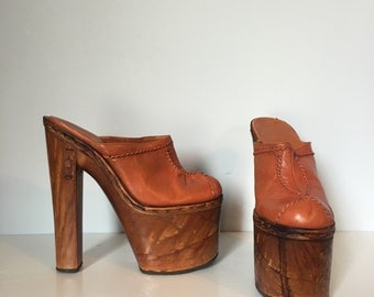 7 M / 70s Iconic Savatore Deodato Platform Shoes / Leather Monster Clog / Museum Worthy Shoes /