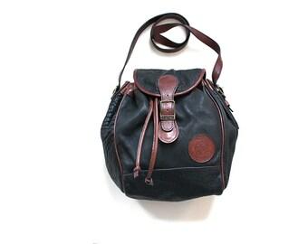 Vintage Bucket Bag / Black Leather Drawstring Bag