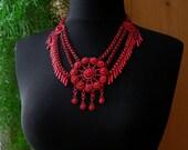 Antique Festoon Necklace - Bold RED Enamel Collar Necklace - Shabby Chic Fringe Bib Necklace - WAR ERA 1940s Art Nouveau Statement Jewelry