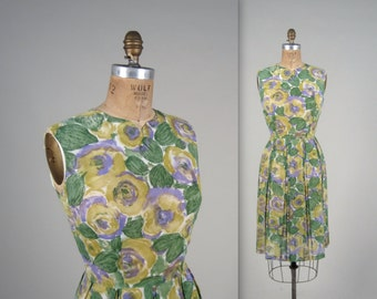 1950s floral sun dress • vintage 50s dress •  full skirt summer dress