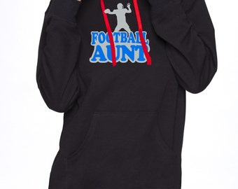 Pullover Hoodie With Football Aunt Graphics French Terry Premium Next Level Brand Two Color 60/40 Cotton Polyester