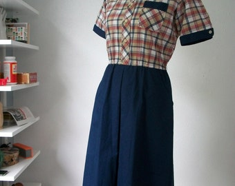 Vintage plaid camper scout dress - Made by EJM Ltd