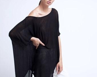 Oversized Asymmetric Top / Designer Tunic / Long Black Tunic / Loose Blouse / Long Shirt / marcellamoda - MB077