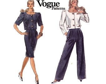 80s High Waisted Pants Skirt and Top Vogue 7484 Sewing Pattern Vintage Size 6 8 10 Waist 23 24 25 inches UNCUT FF
